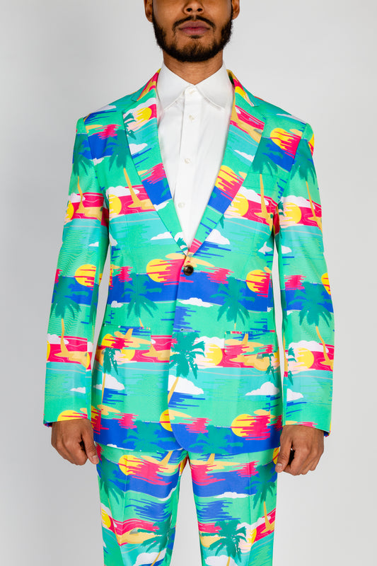The Island In The Sun | Teal Abstract Tropical Island Blazer