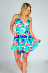 Island In The Sun | Teal Abstract Tropical Strappy Dress