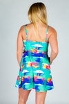 Womens teal abstract tropical strappy dress