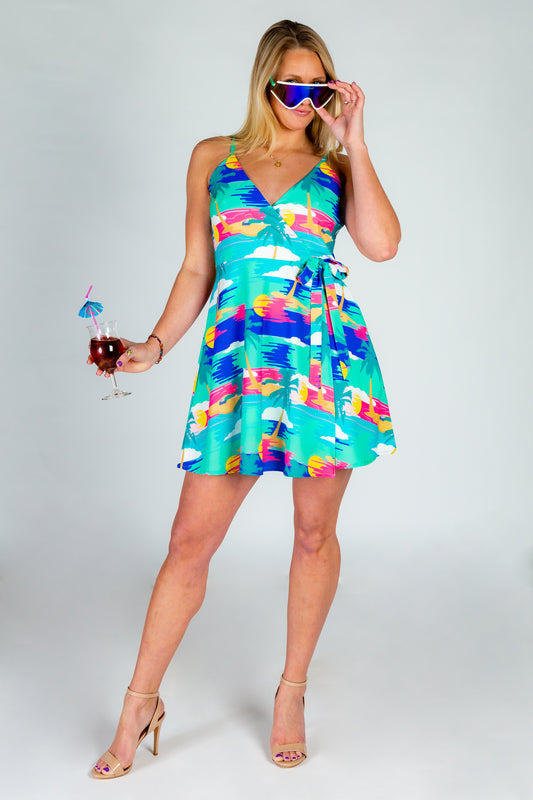 Teal tropical summer wrap dress for ladies