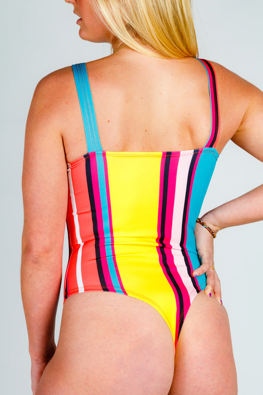 The 60's Called | Women's Vintage Vertical Striped Retro Body Suit