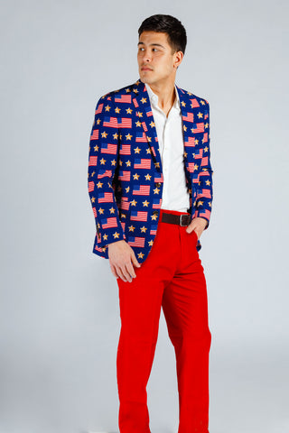 Patriotic American Flag Suits Jackets Blazers By Shinesty,Bridal Wedding Reception Dresses