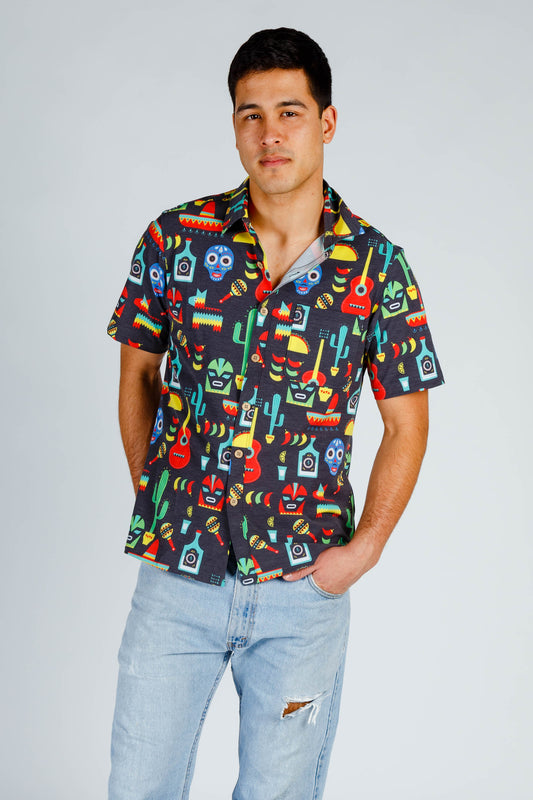 Sonoran inspired stretch button down shirt with beer pocket