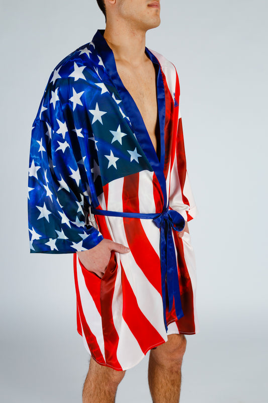 red white and blue mens kimono robe