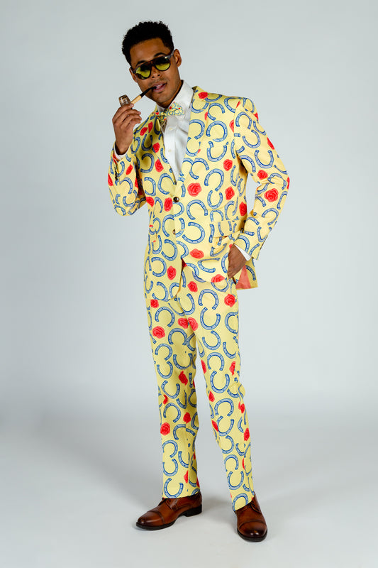 yellow horseshoe printed derby suit
