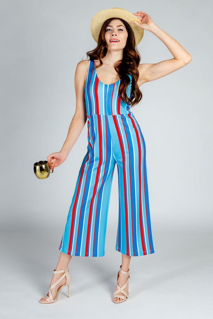 The Old Kentucky Home Derby Jumpsuit | Preppy Vertical Stripe