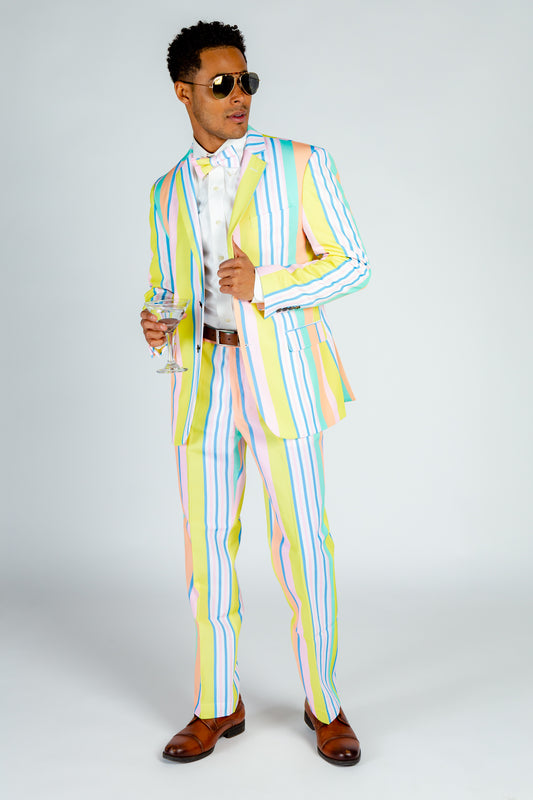 pastel pin striped party suit