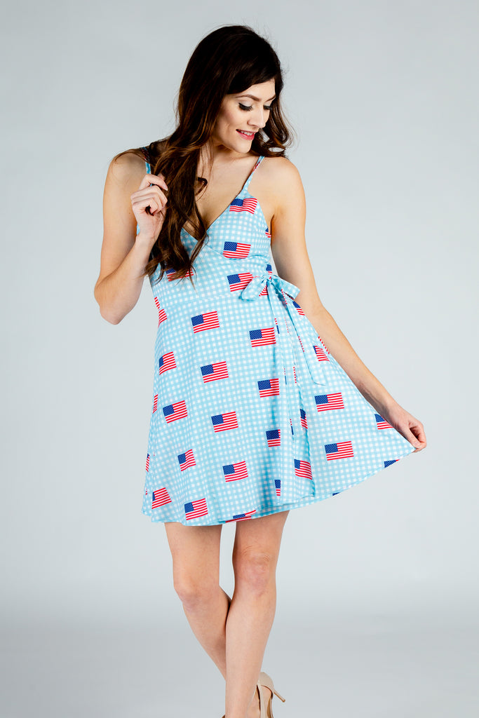 The I Like It In Hyannis Spring Dress | Blue USA Flag Gingham Strappy Dress