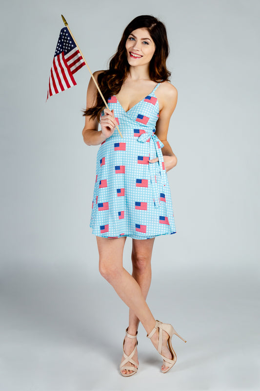 patriotic american flag strappy dress