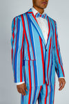 retro red white and blue derby blazer