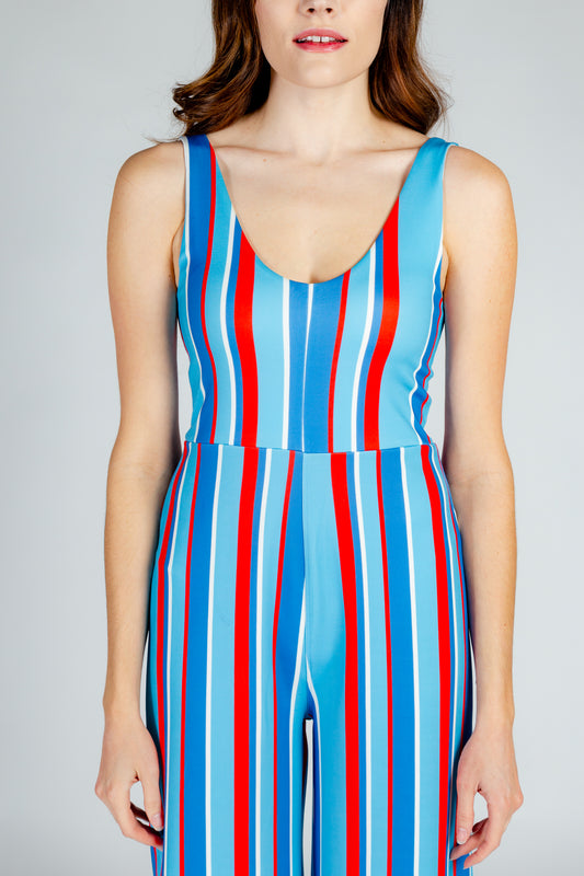 patriotic red white and blue jumpsuit