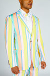 yellow striped party suit