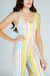 pastel striped jumpsuit for women