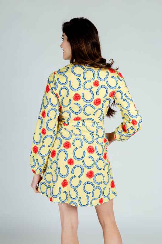 yellow horseshoe wrap dress