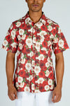 red and white flower hawaiian shirt