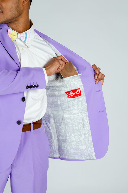 lilac purple party suit