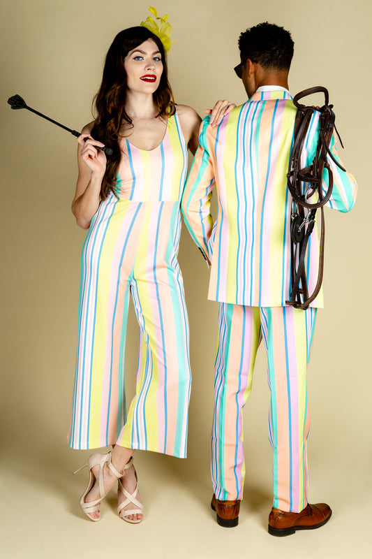 yellow and blue derby jumpsuit