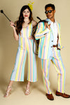 matching pastel suit and jumpsuit