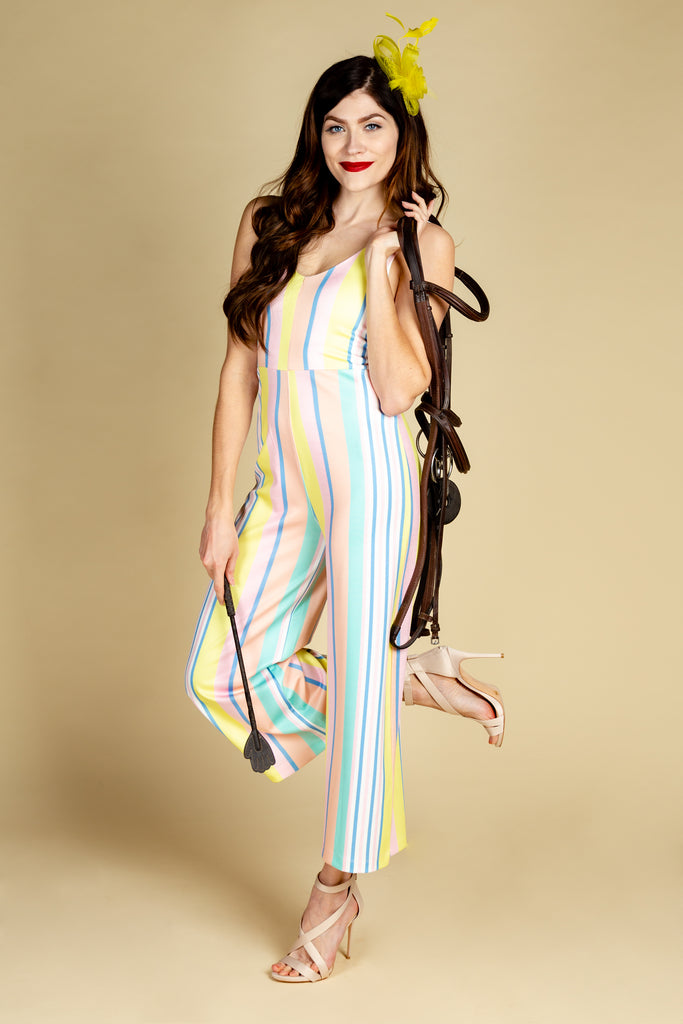 The Tommy Filtheger | Pastel Vertical Stripe Preppy Derby Jumpsuit