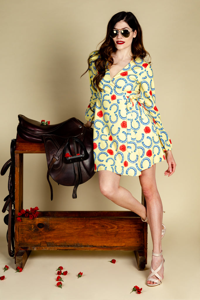 The Derby Delight | Horseshoe Wrap Dress