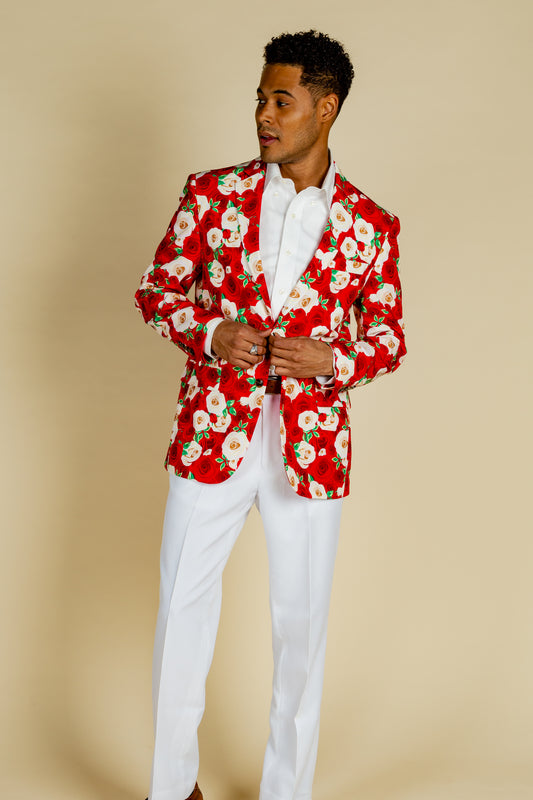 red and white derby suit