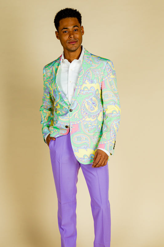 green and purple paisley suit