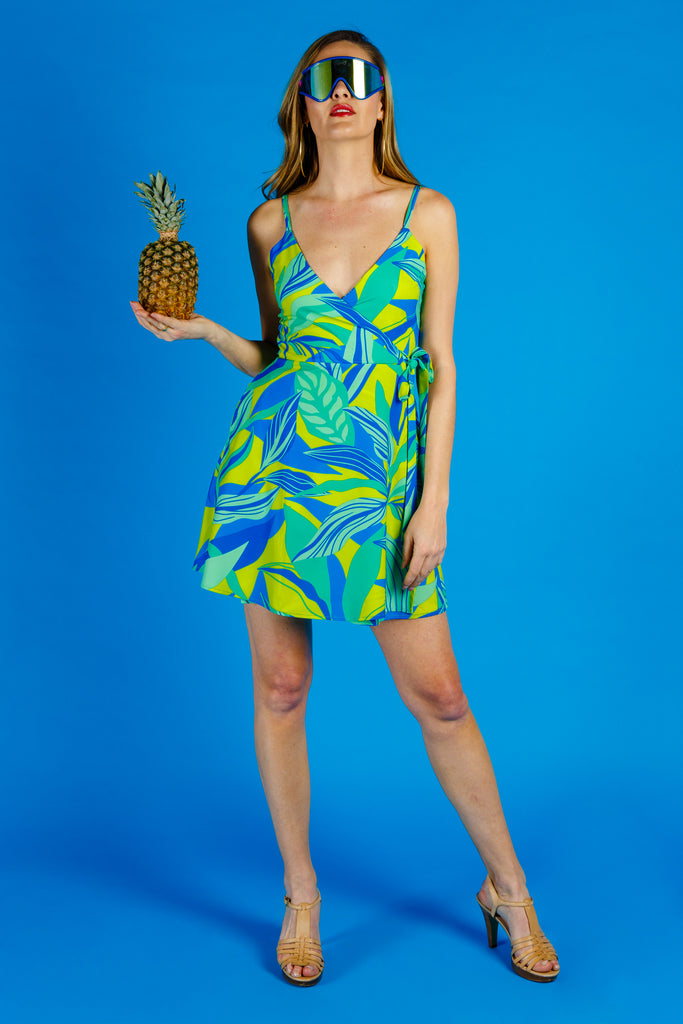 The Rum & Sprite | Neon Leaves Strappy Dress