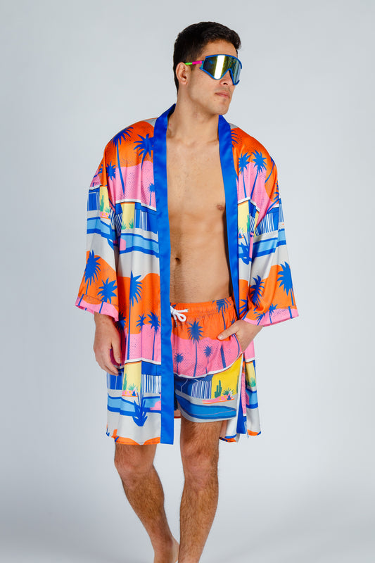 silky colorful kimono for men