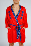 red white and blue boxing robe