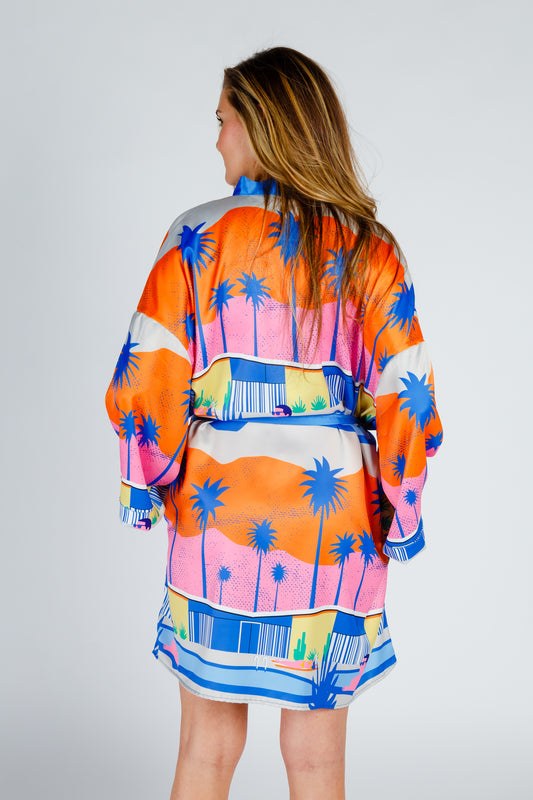 colorful vacation kimono for women