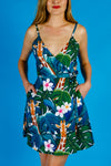 blue and green tropical print dress