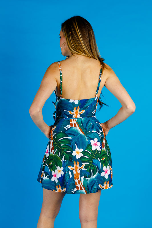 tropical print blue green dress