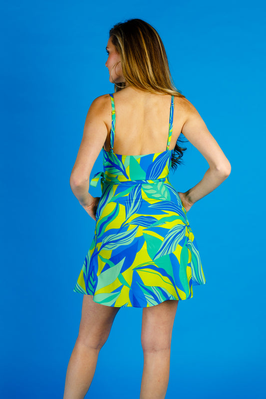 blue green and yellow wrap dress