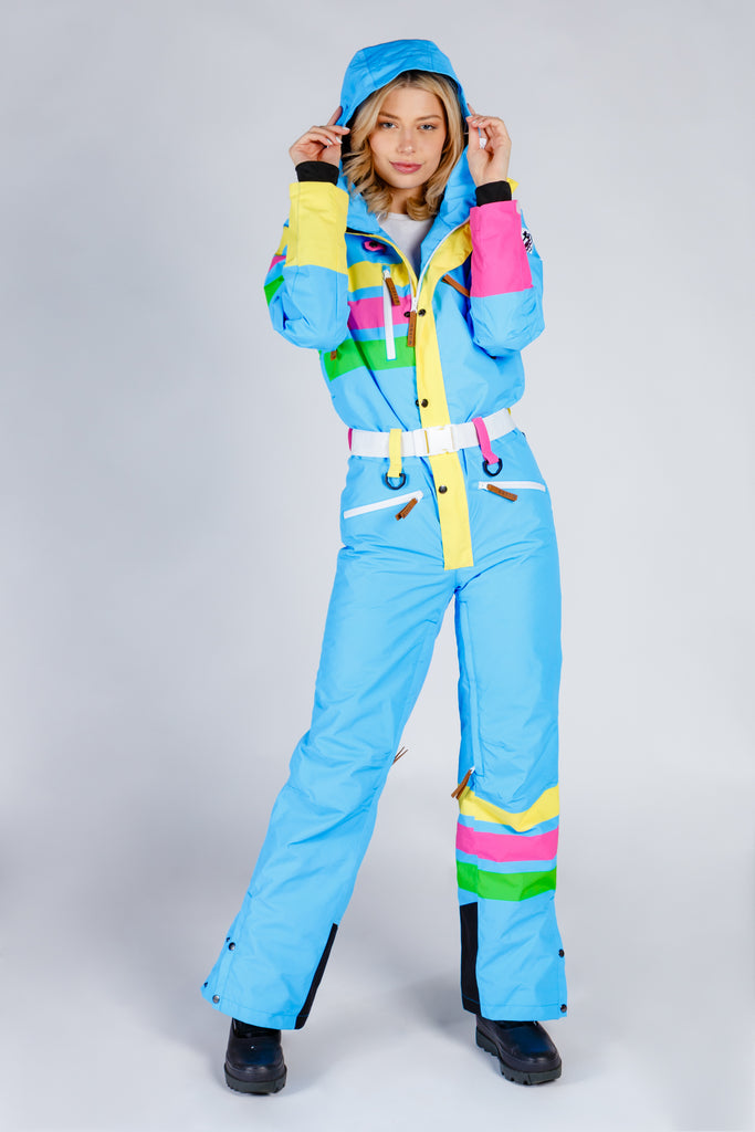 The Bluebird | Womens Bright Teal Retro 80s Ski Suit
