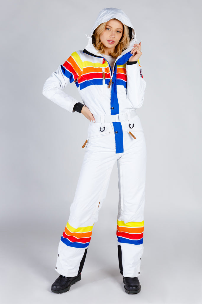 The Powder Day | Womens White Retro Striped Ski Suit