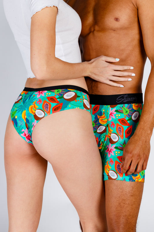 matching tropical boxer and cheeky underwear
