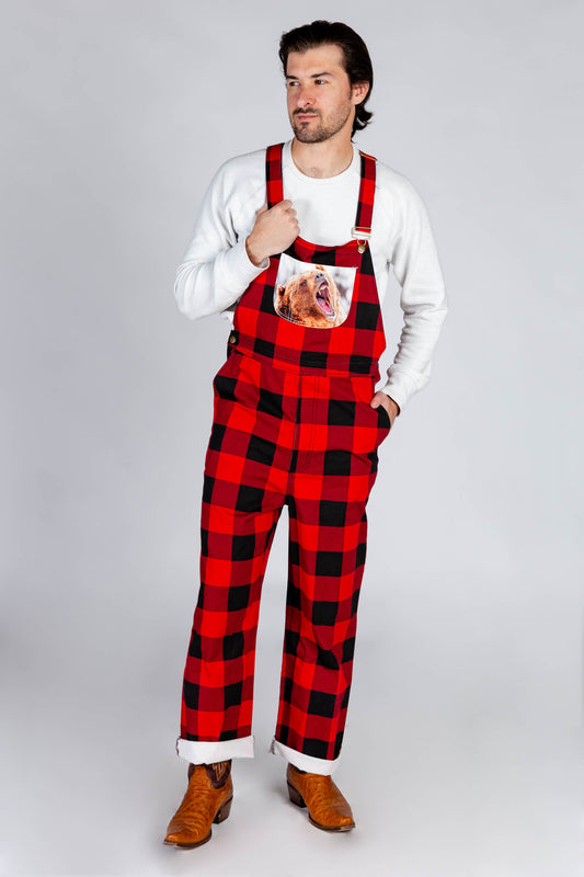 buffalo plaid overalls with bear on it