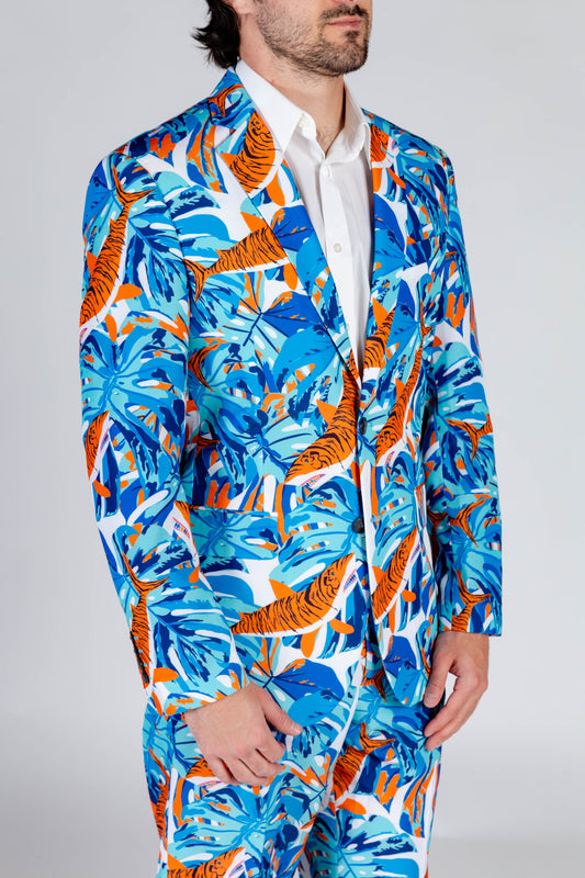 blue and orange suit jacket