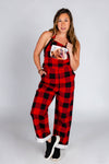 womens buffalo check overalls