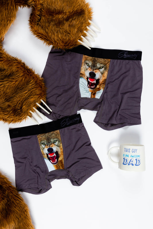 father and son wolf print underwear