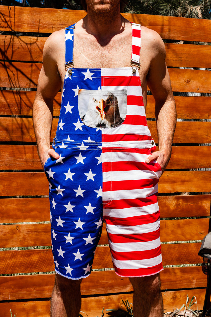 Unisex Couples Patriotic American Flag Print Overall Rompers Shorts Outfits Summer Sleeveless Jumpsuit