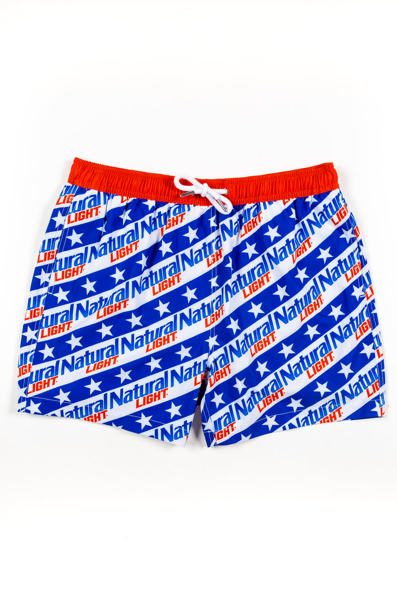 the BYOB natural light swim trunks