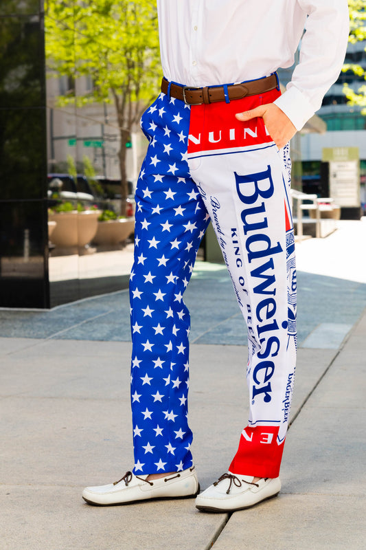 Red, White and Blue Budweiser Suit Pants