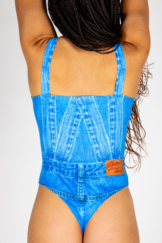 Denim thong body suit