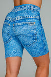 denim patterned bike shorts