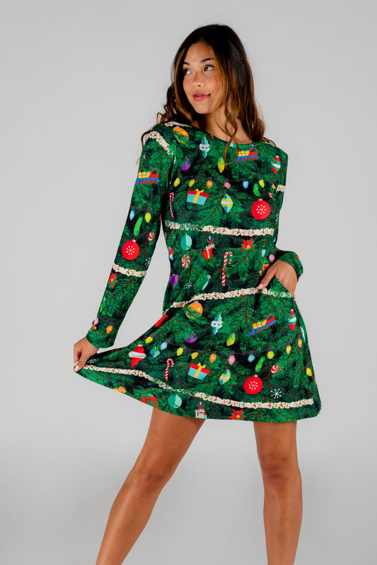 The Christmas Tree Camo | Christmas Tree Print Skater Dress