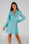 Aqua Candy Cane Print Christmas Wrap Dress for Ladies