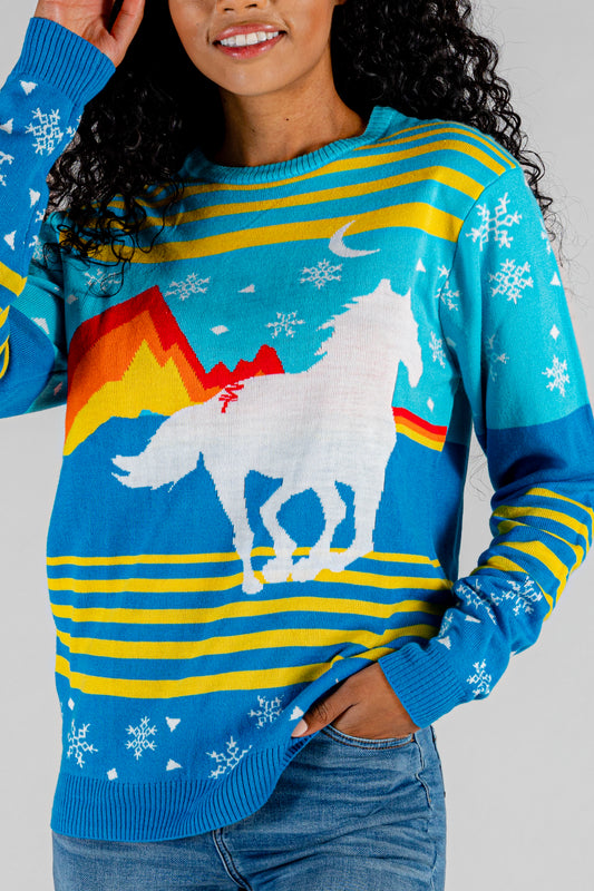 The Hot N' Cold Snacks | Gals Unisex Multicolor Horse Print Christmas Sweater