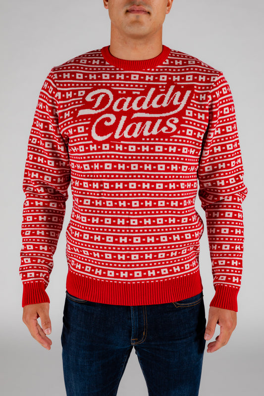 daddy claus red holiday sweater