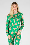 The Ninja Bread | Women's Green Gingerbread Christmas Pajama Top